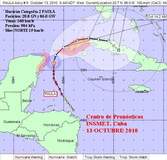 Cuba vigila al huracán Paula. Pinar en fase informativa